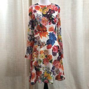 Betsey Johnson Long Sleeve Floral Dress